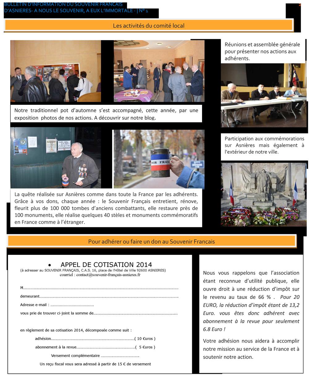 Bulletin d'information N°1 du SF d'Asnières