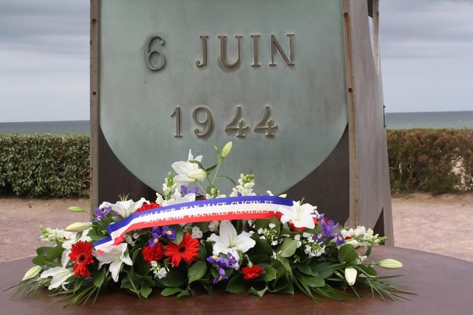Souvenir Français Asnières Clichy & Collège Jean MACE - Cérémonie à Ouistréham - 28/05/2015